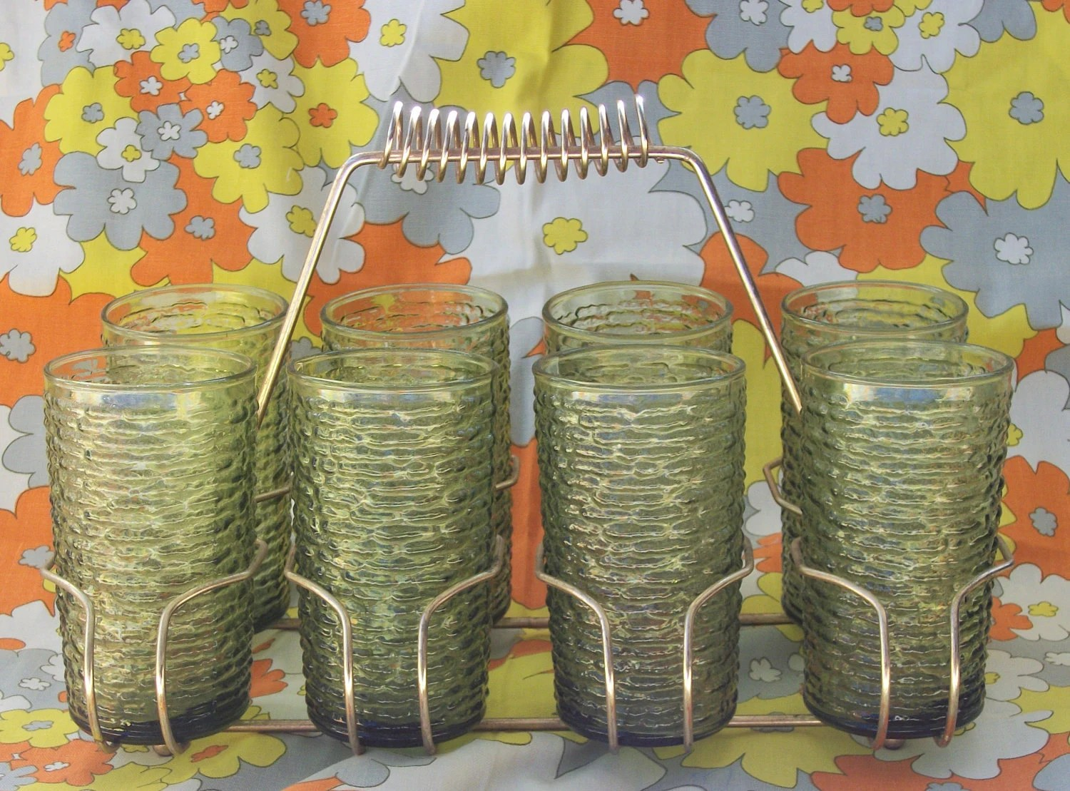 Retro Anchor Hocking Avacado Green Drinking Glasses and Drink Caddy- 70s Swank