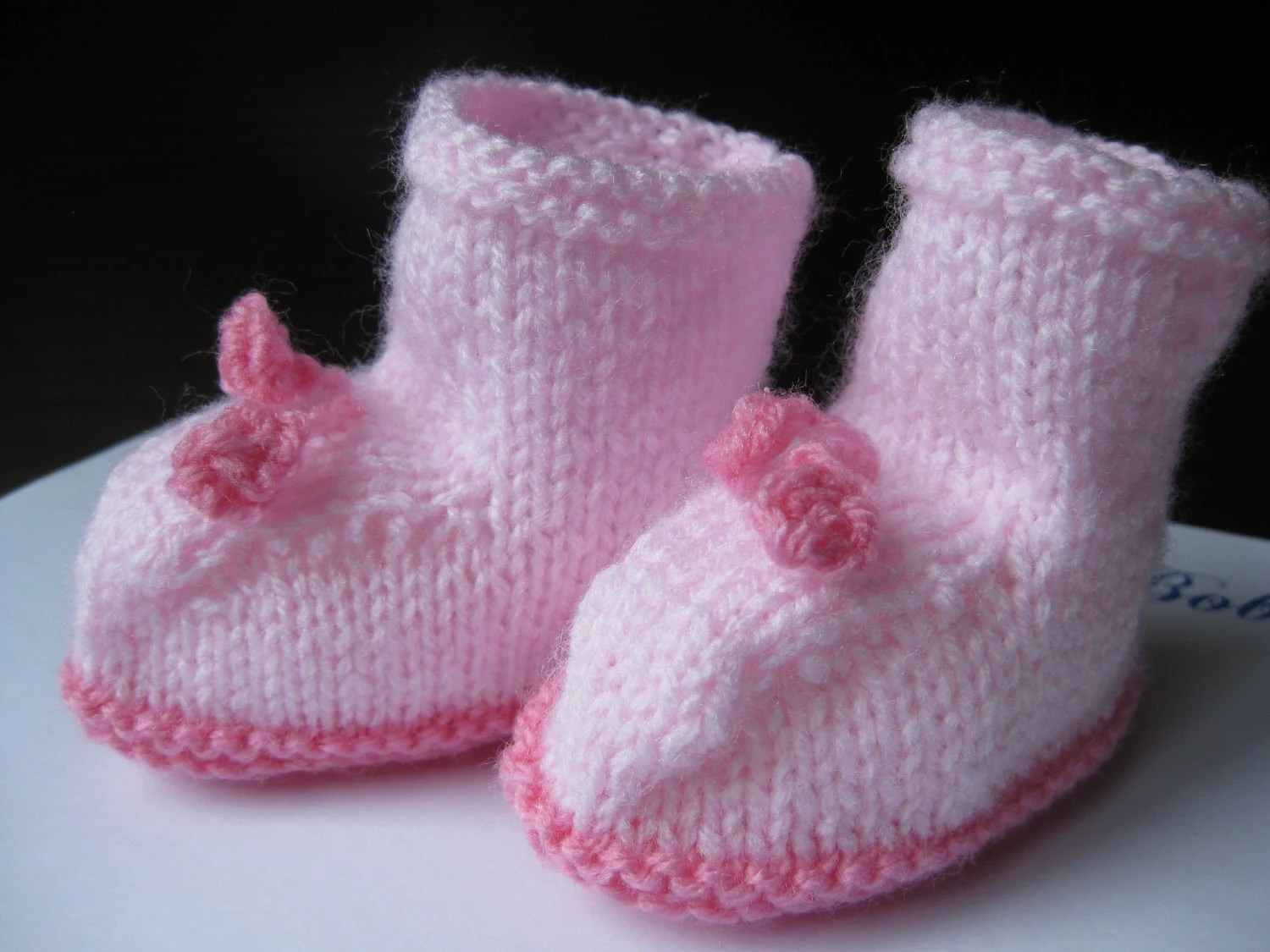 Baby Booties  knitted in Pink - Newborn to 3months
