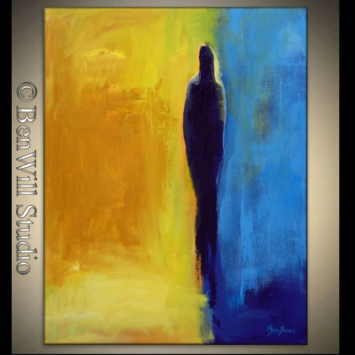 ORIGINAL Abstract EXPRESSIONIST Modern Art Oil Painting Blue Yellow Abstract FIGURE Art 28x22 by BenWill