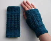 Ladies Fingerless Mittens / Gloves / Wrist Warmers in Dark Teal