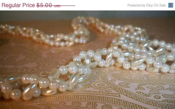 Faux Pearl Strand - Woven or Bead Crochet - Repair or Upcycle