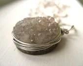 Druzy Necklace Drusi Smoky Quartz silver Statement jewelry by Vitrine