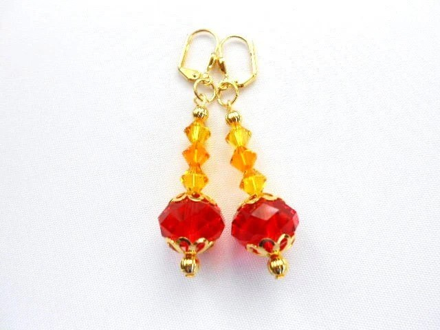 Orange Tangerine Rondelle Earrings with Sun Swarovski Crystals on Gold
