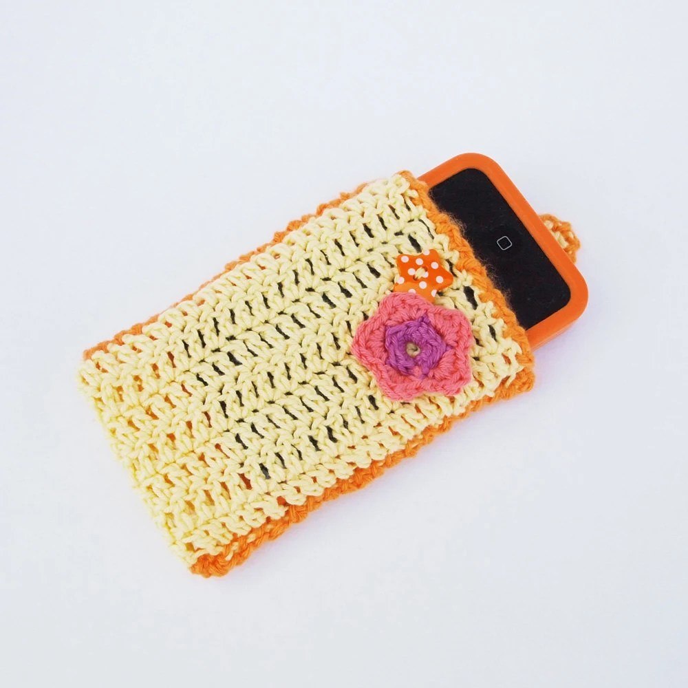 Daffodil Yellow Cotton Crochet iPhone sock, with orange pink and purple flowers