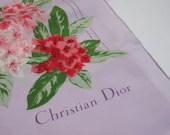 1960s Christian Dior Silk Scarf - Lavender & Pink Azalea Flower Designer Dress Scarf