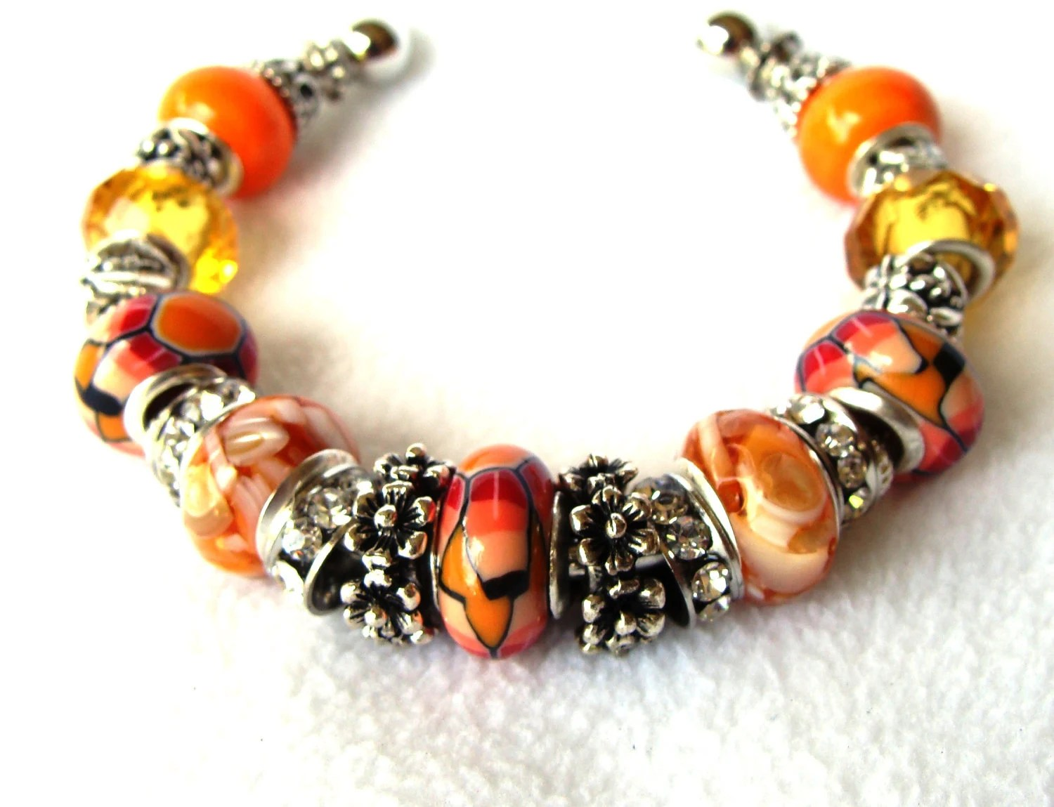 Orange, Mustard and Shades of Red European Beaded Cuff Bracelet   HOT SUMMER COLORS