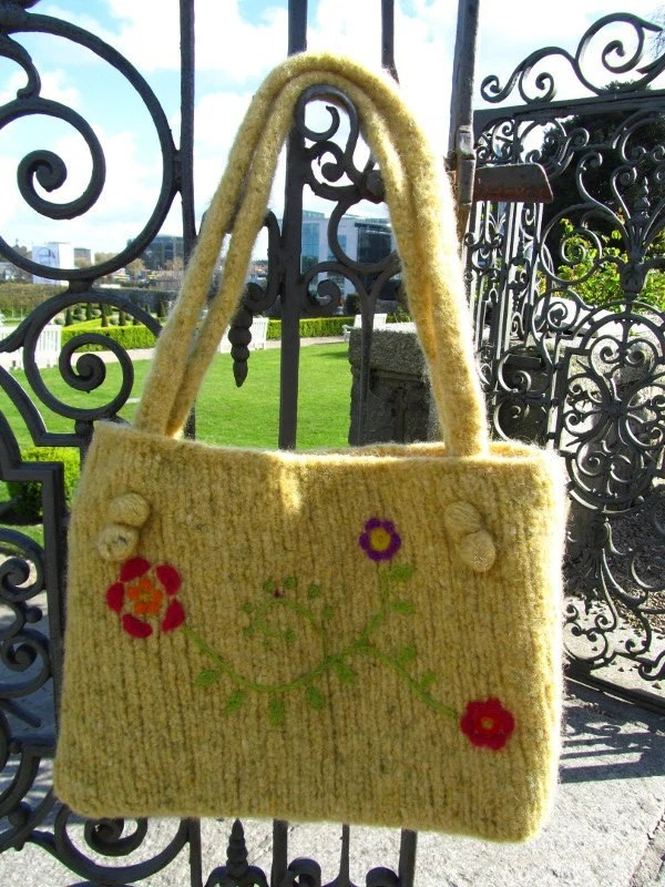 Yellow Handknit Felted Bag