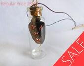 Orange Butterflies Glass Jar necklace with Raw Quartz Crystal
