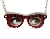 Red Eyeglass Necklace Eye Frame Pendant Black Stripes Custom - TheSpangledMaker