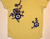Yellow S/S Toddler (12-18 mos.) Onesie w/ Ebroidered Floral Appliques and Swarovski Rhinestones. -SALE-FREE DOMESTIC SHIPPING too