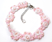 Delicate Soft Pink Bracelet - MegansBeadedDesigns
