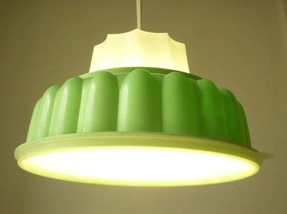 Mint Green TUPPERLIGHT - Vintage Tupperware Jello-O Mold Hanging Lighting Fixture -  Upcycled Pendant Light - Eco Friendly BootsNGus Design