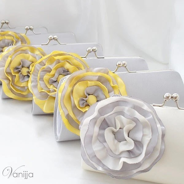 SET Of 6 Bridesmaid's Clutches..Customize your own Clutches to match your Wedding Colors..Medium size