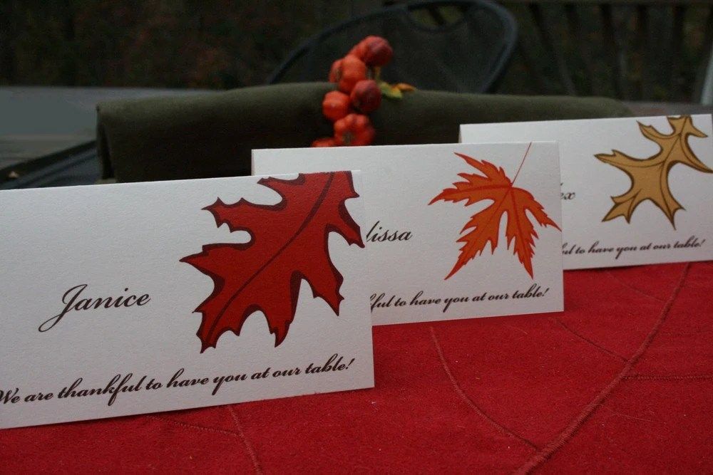 Thanksgiving Place Cards in Fall Leaf design