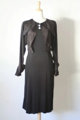 1930s Black crepe dress : French Cuff