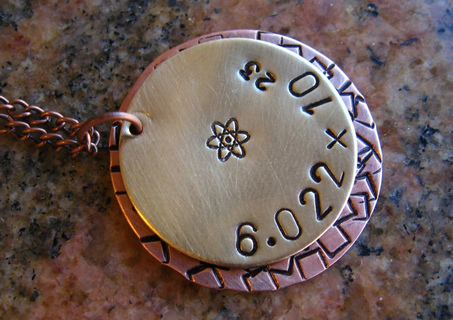 Avogadro's Number - Copper and Brass Unisex Necklace