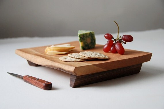 Cheese Board Cutting Board Rustic Footed Platter Cherry Serving Tray