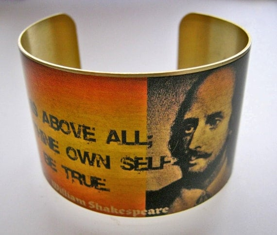 "William SHAKESPEARE Hamlet cuff bracelet ""This Above All, To Thine Own Self Be True"" vintage style brass Free Shipping Worldwide by uniqueartpendants"