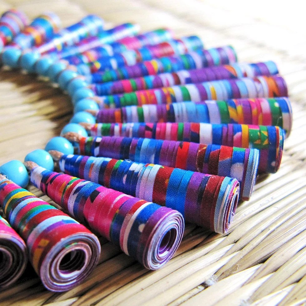 Paper bead jewelry - Lightweight jewelry - Long necklace - Autumn, Fall -  Fuchsia pink, Purple, Violet, Aqua blue, white, ruffle, dainty