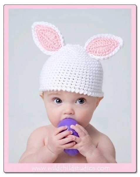 Crochet Bunny Hat Cap Newborn to 3 months in White and Pink