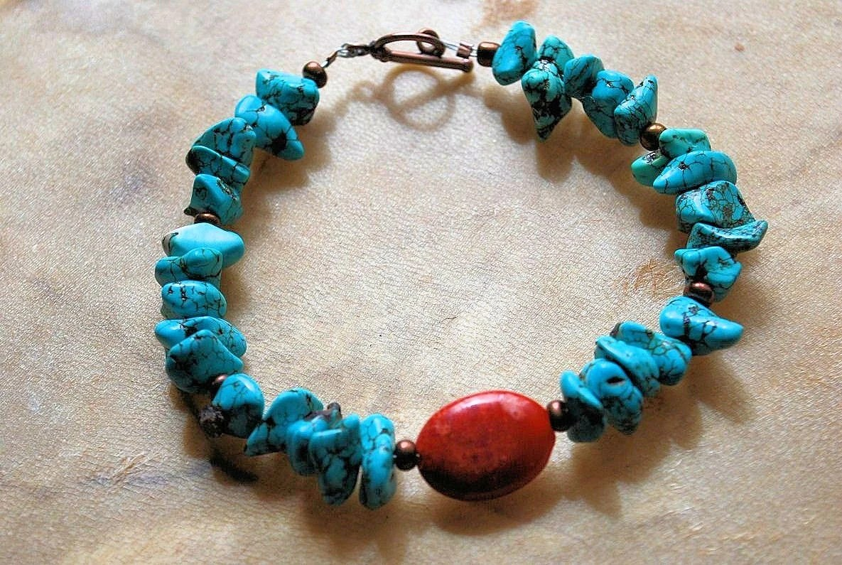 Earthy turquoise nugget copper red sponge coral bracelet