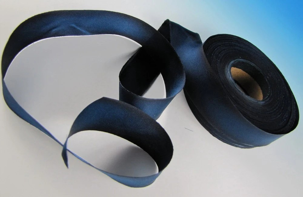Midnight Blue 3 yd length Hanah Hand painted Silk Satin Ribbon