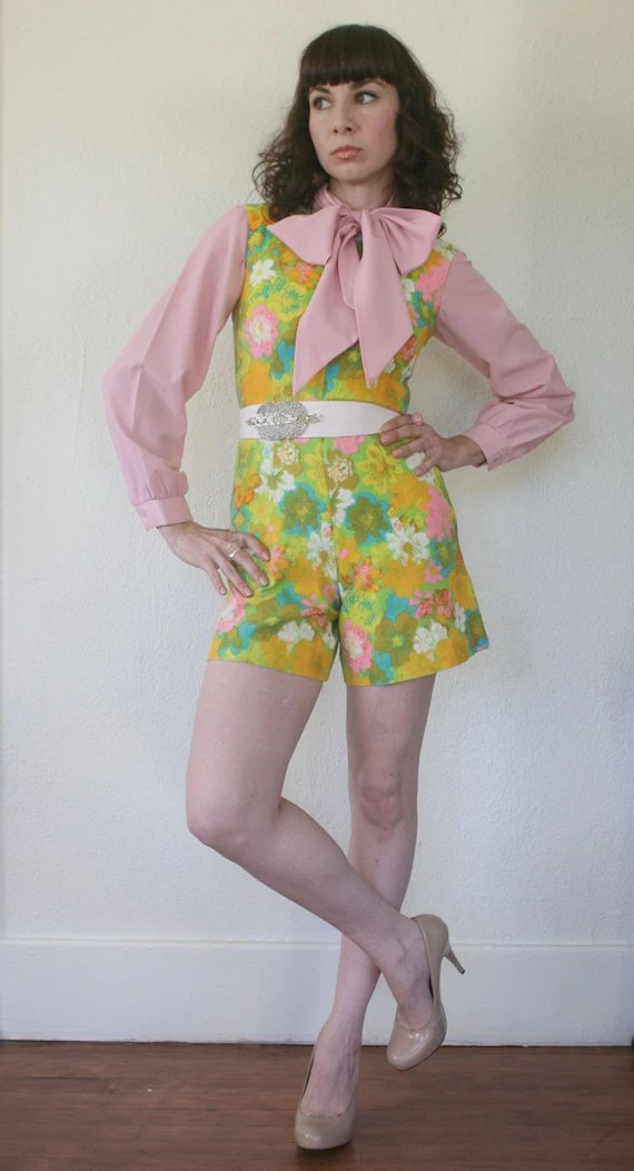 Vintage 60s Floral Print Mod Romper Playsuit Extra Small On Sale