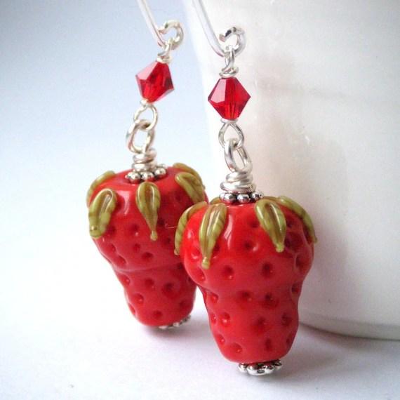 Lampwork Glass Earrings - Red Green Strawberry Earrings, Swarovski Crystals, Summer Fashion, OOAK - 'Juicy Strawberries'