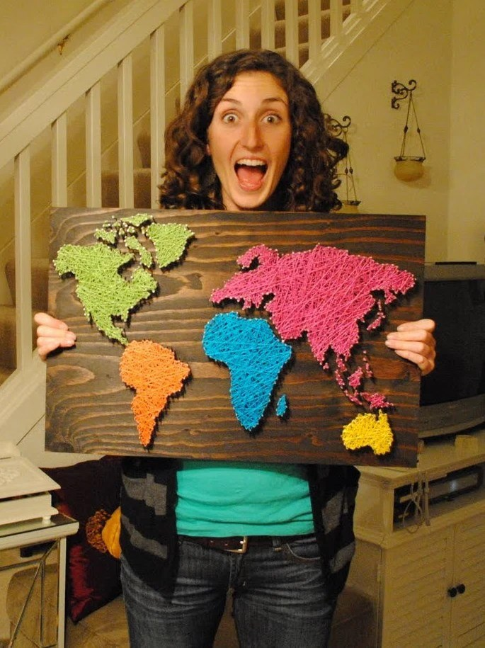 Nail Wall Art World Map, Bold and Beautiful Palette
