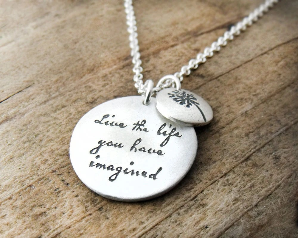Live the life you have imagined - Inspirational quote necklace - Motivational quote graduation - lulubugjewelry