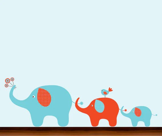 Boys Orange and Blue  Pattern Elephants in a Row - Vinyl Wall Art Decal
