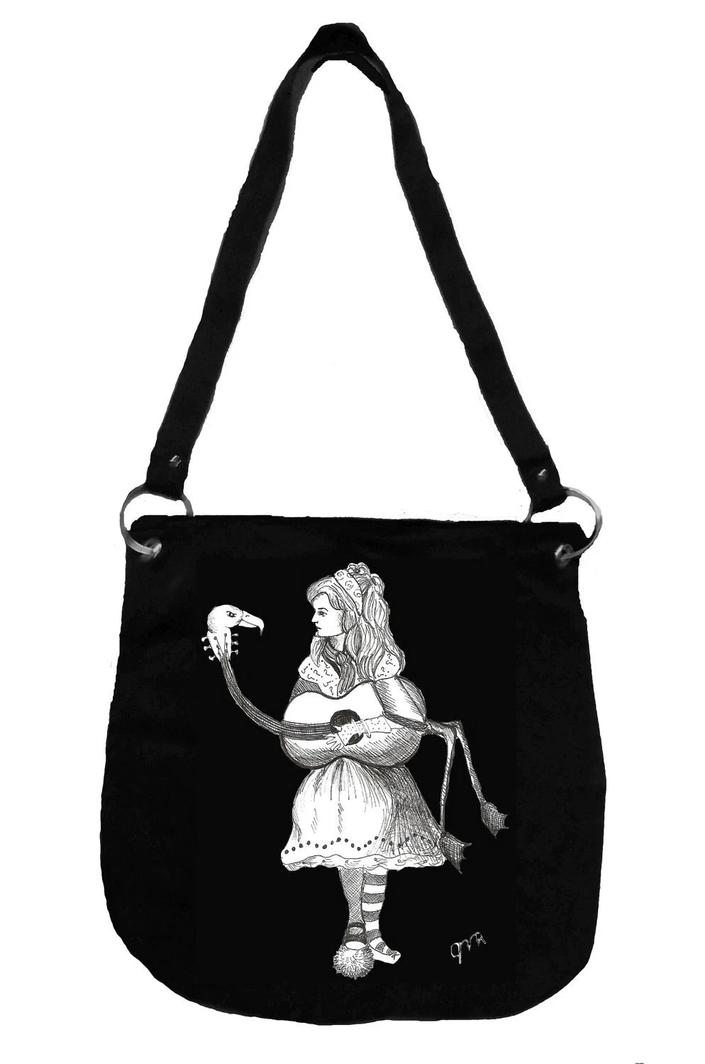 Alice in Wonderland Messenger Bag- Alice's Flamingo Guitar, Tim Burton Inspired, proceeds to Alzheimer's Association