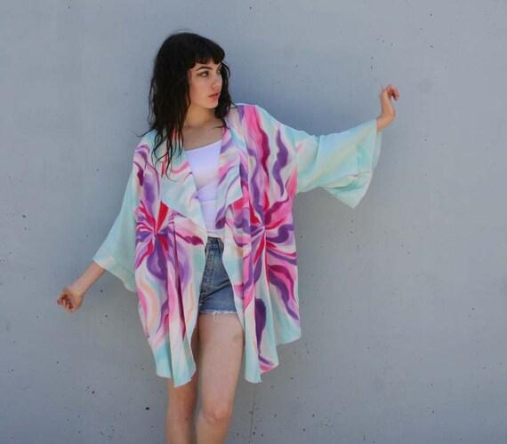 BRIGHT Hand Painted Silk Drape Kimono Jacket