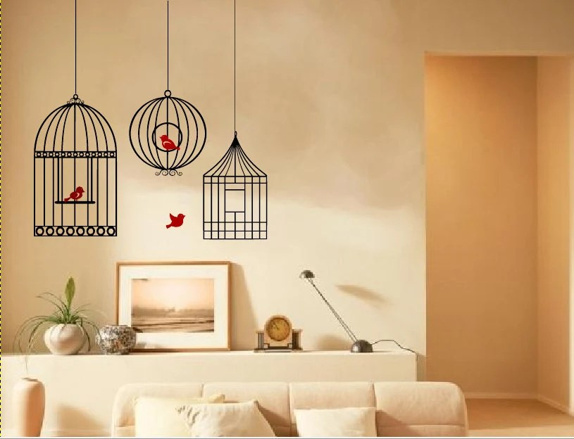 Home decor- Bird cage wall decal with birds vinyl sticker