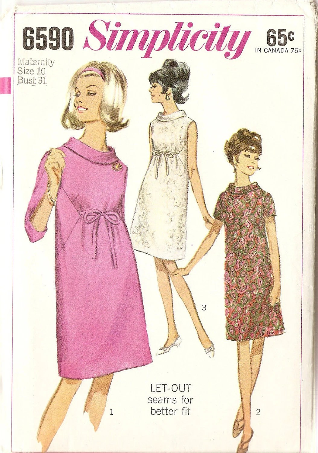"Vintage Misses Maternity Dress with ""Let-Out seams"" Simplicity Pattern 6590 Complete 1966 size 10, Stylish"
