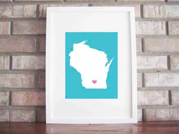 Customize Your Home Is Where The Heart Is - Wisconsin 8x10