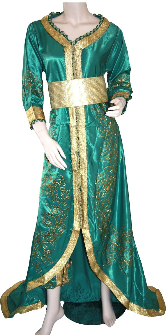Emerald Green & Gold Princess Moroccan Caftan / Dress