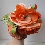 Vintage 1930s Green Straw Tilt Topper Hat Orange Floral Roses 1940s Perch