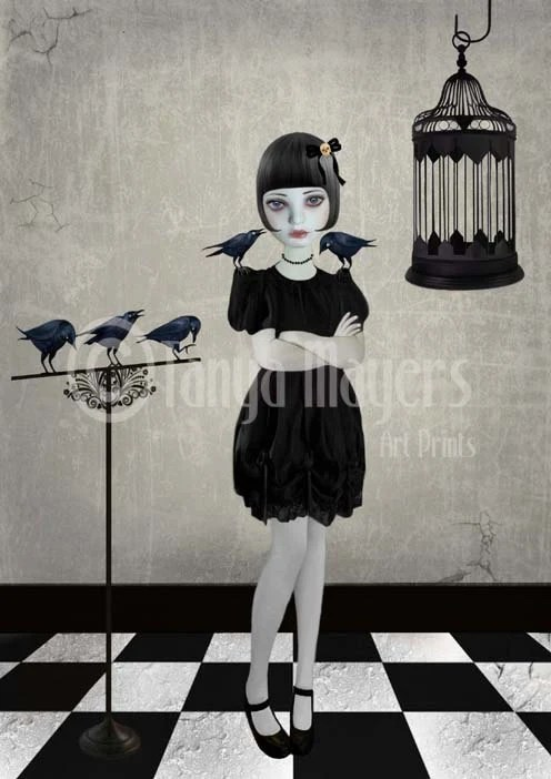 Gothic Lolita Art Print Goth Girl & Blackbirds - FREE Shipping