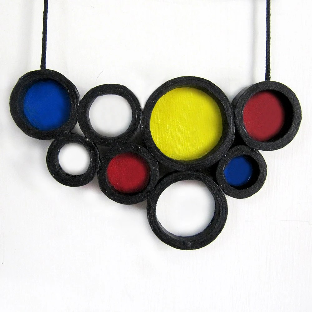 Retro - Asymmetric jewelry - Large pendant necklace - Circle, geometry, abstract, playful, colorful - Black, White, Red, Yellow, Blue