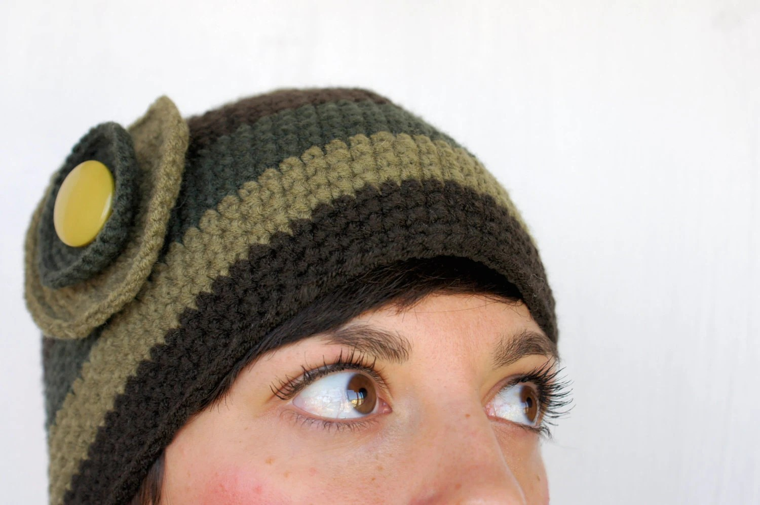 striped  hat with flower