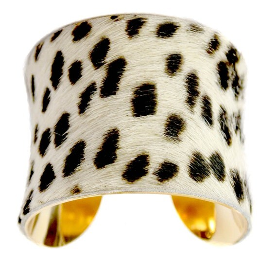 Cowhide Fur Cuff Bracelet ( Spotted Leopard Gold Lined ) - by UNEARTHED