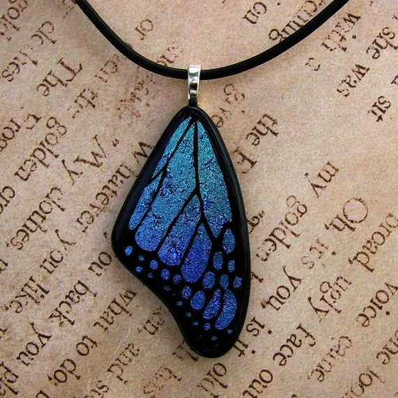 Blue Mix Fused Glass Butterfly Wing Pendant With Free Cord