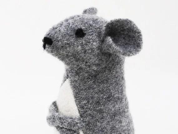 Plush woodmouse, gray wool