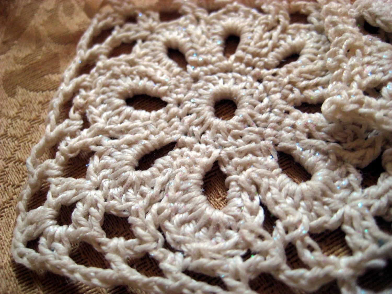 Pair of Ecru Crochet Lace Ornaments