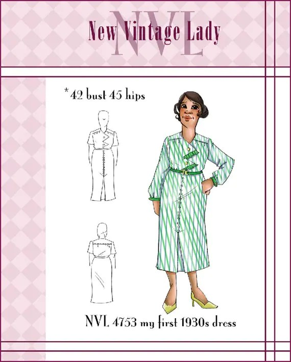 NVL 1930s My First 30s Dress 42 bust PLUS SIZE