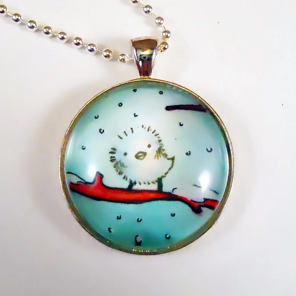 Bird Pendant, Snow Christmas Necklace, Winter Accessories, Hand Painted Pendant