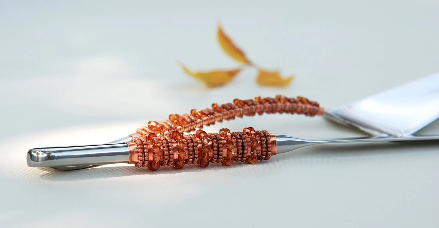 SWAROVSKI Copper Wedding Cake Server And Knife Set Hand Beaded And Wire Wrapped - Perfect For Fall Weddings And Thanksgiving Table