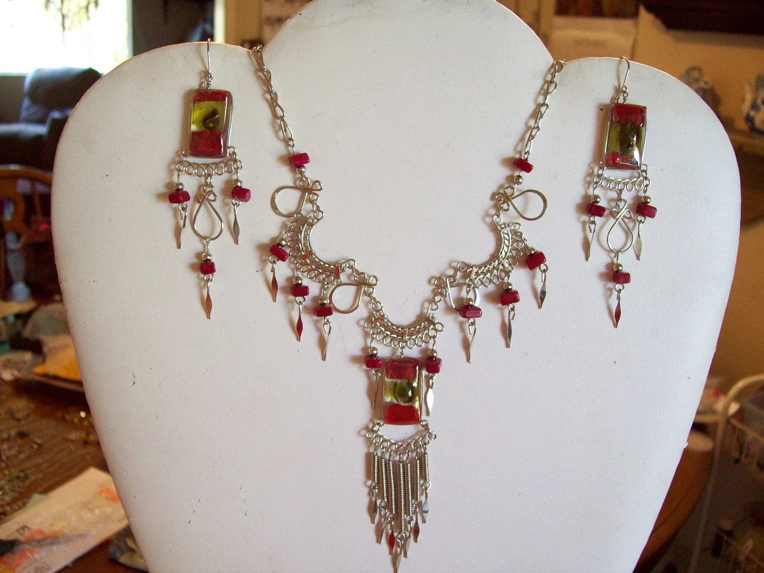 Native American Red Green Fused Glass Necklace and Earrings Set