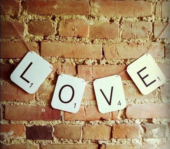 SCRABBLE LOVE Wedding Banner - Engagement, Photo Prop